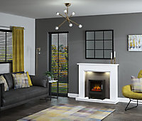 Be Modern Nightingale White, grey & black Textured stone effect Electric Stove suite