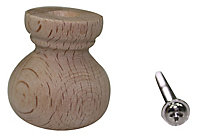 Beech Round Furniture Knob (Dia)30mm, Pack of 10