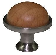 Beech Round Furniture Knob (Dia)34mm