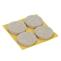 Beige Felt Protection pad (Dia)34mm, Pack of 4