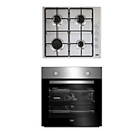 Beko QSE223SX Stainless steel Built-in Single Multifunction Oven & gas hob pack