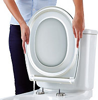 Bemis Push n'Clean White Top fix Soft close Toilet seat