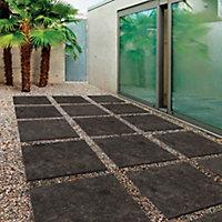 Benelux Black Matt Stone effect Porcelain Outdoor Floor Tile, Pack of 2, (L)600mm (W)600mm