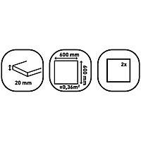 Benelux Grey Matt Stone effect Porcelain Outdoor Floor Tile, Pack of 2, (L)600mm (W)600mm