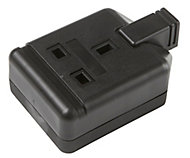 Black 13A 1 Gang Unswitched Trailing socket