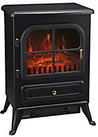 Black Cast iron effect Electric Stove