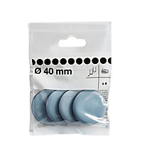 Black & grey PTFE Glide (Dia)40mm, Pack of 4