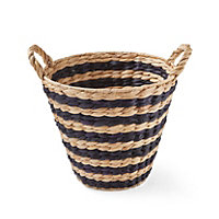 Black & natural Woven striped Water hyacinth Basket