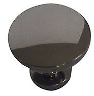Black Nickel effect Zinc alloy Round Furniture Knob (Dia)30mm, Pack of 6
