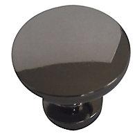Black Nickel effect Zinc alloy Round Furniture Knob (Dia)30mm, Pack of 6