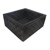 Black Plastic Storage basket (H)140mm (W)310mm, Pack of 3