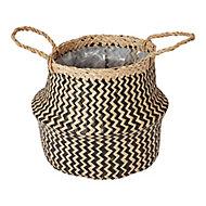 Black Seagrass Herringbone Plant pot (Dia)25cm