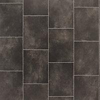 Black Slate tile effect Vinyl flooring, 4m²