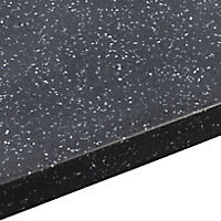 Black star Black Stone effect Earthstone Worktop with sink & drainer (L)1800mm