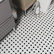 Blizi Black & white Ceramic Mosaic tile sheet, (L)295mm (W)295mm