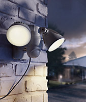Blooma Brampton Matt Charcoal grey Solar-powered LED Motion sensor Outdoor Security light