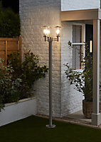 Blooma Chignik Brushed Silver effect Mains-powered 3 lamp Halogen Lamp post (H)2000mm