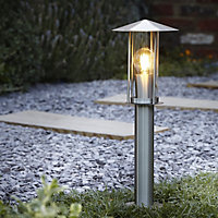 Blooma Chignik Brushed Silver effect Mains-powered Halogen Post light (H)500mm