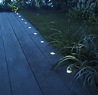 Blooma Coldstrip Brushed Silver effect Mains-powered Neutral white LED Decking light, Pack of 10