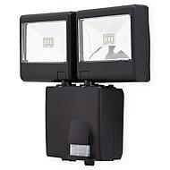 Blooma Colwood Matt Black Battery-powered LED PIR ExternalDouble Flood light