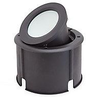 Blooma Dodson Matt Black Mains-powered Neutral white LED Round Decking light