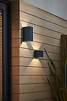 Blooma Edna Matt Charcoal grey Mains-powered LED Outdoor Wall light 814lm
