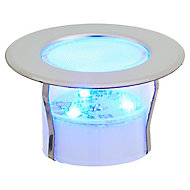 Blooma Hardin Brushed Silver effect Mains-powered Blue LED Decking light, Pack of 6