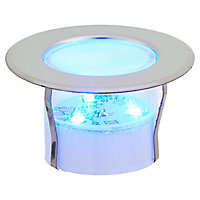 Blooma Hardin Brushed Silver effect Mains-powered Blue LED Round Decking light, Pack of 6