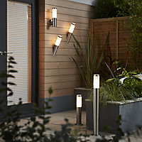 Blooma Hollis Brushed Silver effect Mains-powered Halogen Post light (H)800mm