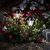 Blooma Kitmat Polished Silver effect Solar-powered LED Outdoor Spike light, Pack of 4