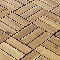 Blooma Lempa Brown Acacia Clippable deck tile (L)0.3m (W)300mm (T)24mm, Pack of 4