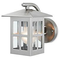 Blooma Medfra Silver effect Mains-powered Halogen Outdoor Lantern Wall light