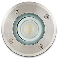 Blooma Nashua Brushed Silver effect Mains-powered Neutral white LED Round Decking light