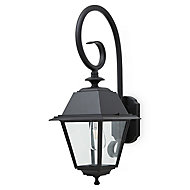 Blooma Newtok Matt Black Mains-powered Halogen Outdoor Lantern Wall light