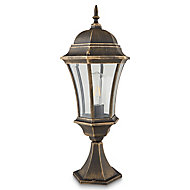 Blooma Richelieu Brushed Gold effect Mains-powered Halogen 6 faces Lamp post (H)570mm