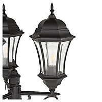 Blooma Richelieu Matt Black Mains-powered 3 lamp Halogen 6 faces Lamp post (H)2600mm