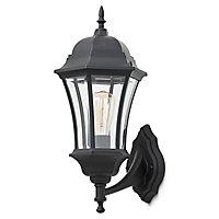 Blooma Richelieu Matt Black Mains-powered Halogen Outdoor Lantern Wall light