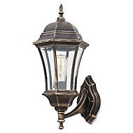 Blooma Richelieu Matt Gold effect Mains-powered Halogen Outdoor Lantern Wall light