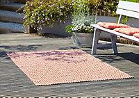 Blooma Rural Geometric Terracotta Rug (L)1.7m (W)1.2m