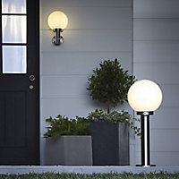 Blooma Sherbrooke Brushed Silver effect Mains-powered Halogen Outdoor Wall light