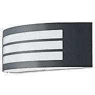 Blooma Valcourt Matt Charcoal grey Mains-powered Halogen Outdoor Wall light
