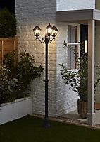 Blooma Varennes Matt Black Mains-powered 3 lamp Halogen 4 faces Lamp post (H)2080mm