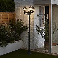 Blooma Varennes Matt Black Mains-powered 4 faces Lamp post