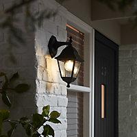 Blooma Varennes Matt Black Mains-powered Halogen Outdoor Lantern Wall light