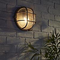 Blooma Waterville Matt Dark brown Mains-powered Halogen Outdoor Bulkhead Wall light