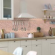 Blush pink Polished Handmade effect Porcelain Mosaic tile, (L)300mm (W)350mm