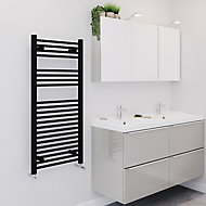 Blyss 489W Electric Matt Black Towel warmer (H)1100mm (W)500mm