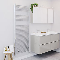 Blyss 554W Chrome Towel warmer (H)1600mm (W)600mm