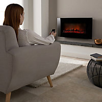 Blyss Dovhy Curved glass front panel Black Glass effect Electric Fire