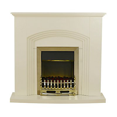 Blyss Kirkdale Cream Brass Effect Electric Fire Suite Diy At B Q